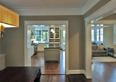 The view into the kitchen-living room combo of a rear addition