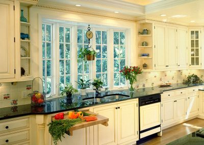 Remodeled kitchen with skylight, built-in cutting board