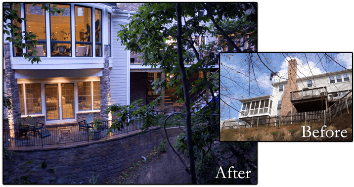 Before and after view of a deck