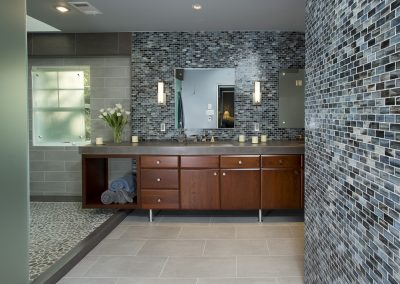 A bathroom with a large double vanity