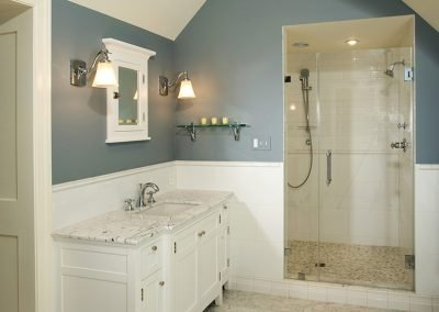 A remodeled bathroom with a shower