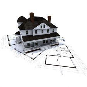3d model of a house on blueprints