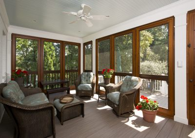 The sitting area of a porch addition