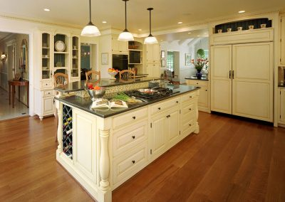 Remodeled kitchen with island, wine rack built in