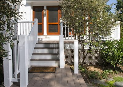 The stairs leading to a porch addition