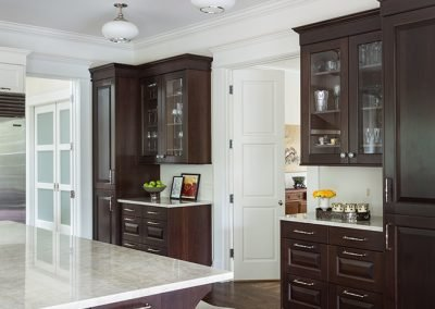 Wood cabinets in remodeled kitchen