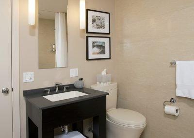 Bathroom with black wood vanity, modern lighting