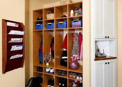 A mudroom with lockers