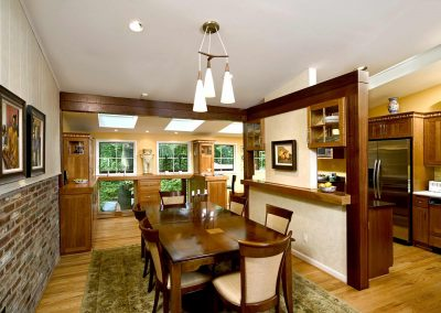 A view of the kitchen and dining rooms