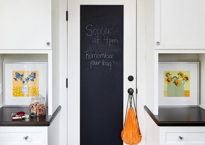 A door with a black chalkboard built-in