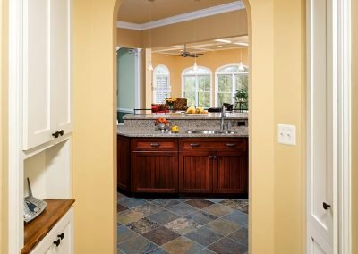 The entraceway to a kitchen from the mudroom