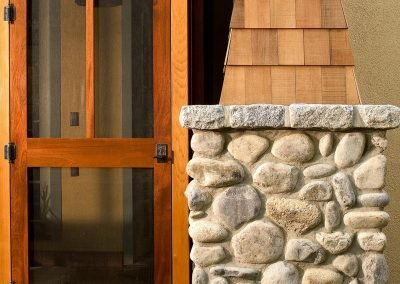 Detail shot of porch's stonework