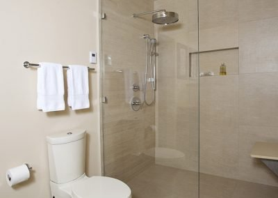 A toilet and shower, with bench