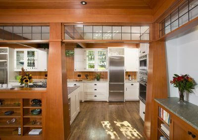 The kitchen entranceway in a remodeled kitchen