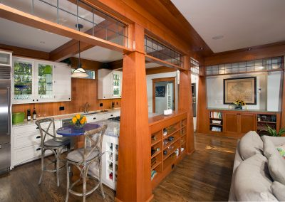 A kitchen-living room combo in a remodeled home