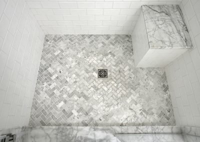 The tile floor of a shower