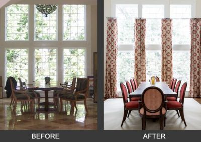 Before and after of a large dining room