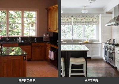 Before and after of a remodeled kitchen