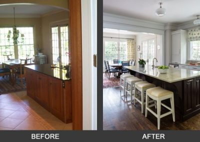 Before and after of a remodeled kitchen and dining area