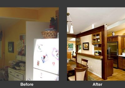 Before and after of remodeled kitchen