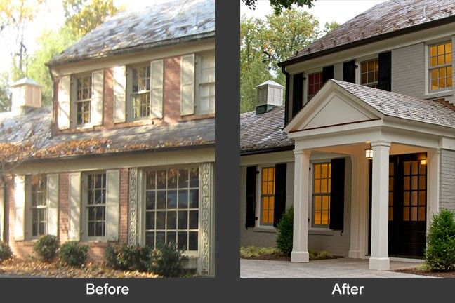 A before-and-after photo of the outside of a home