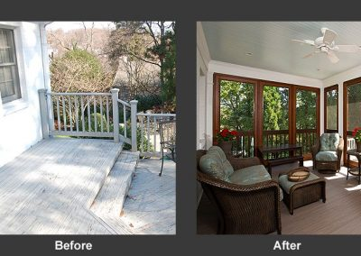 A before an after of a screened in porch addition