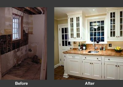 Before and after remodel of kitchen