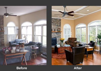 Before and after photos of a living room