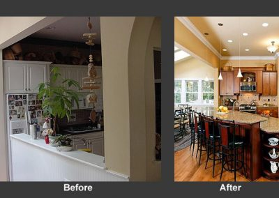 Before and after photos of a kitchen