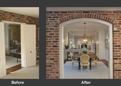 Before and after of dining room entrance