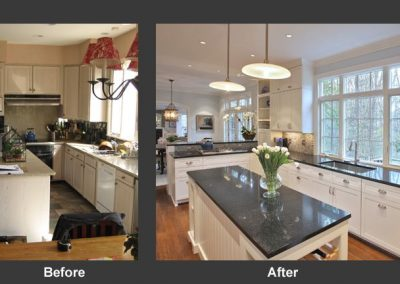 Before and after of kitchen