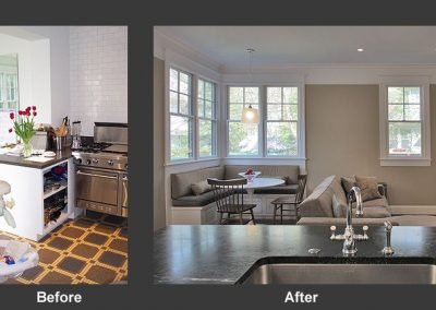 A before and after of a breakfast nook
