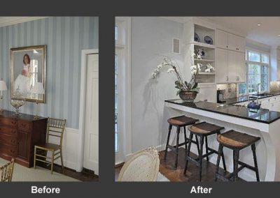 Before and after of kitchen entrance