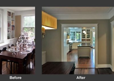 A before and after of a dining room turned into a kitchen