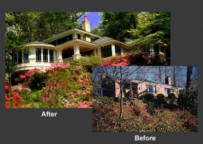 Before and after of landscaping and home exterior