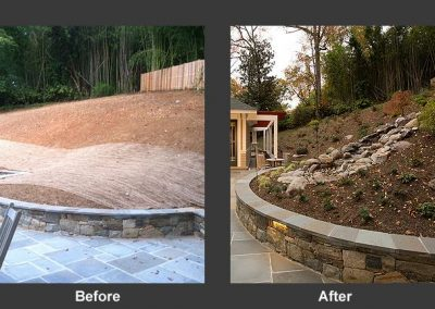 Before and after landscaping next to home