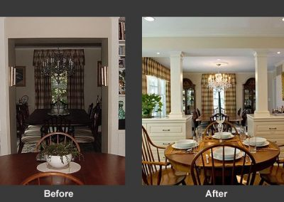 Before and after dining room photo