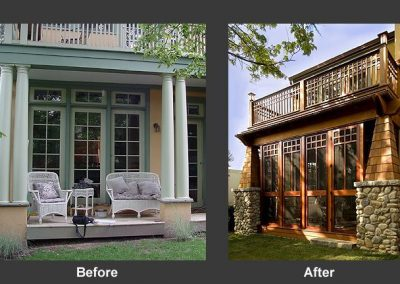 A renovated deck before and after