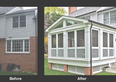 Before and after of porch addition