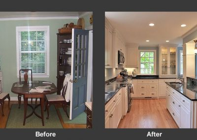 Before and after of dining room turned into kitchen