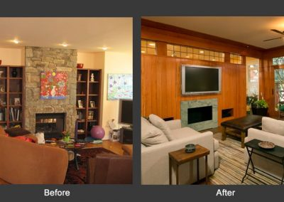 The before and after of a living room with a fireplace