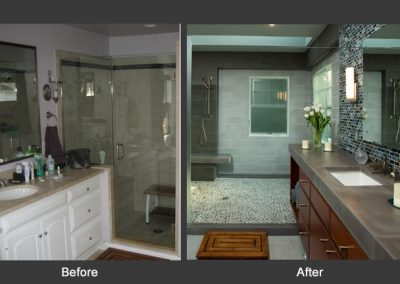 A before and after of a bathroom remodel