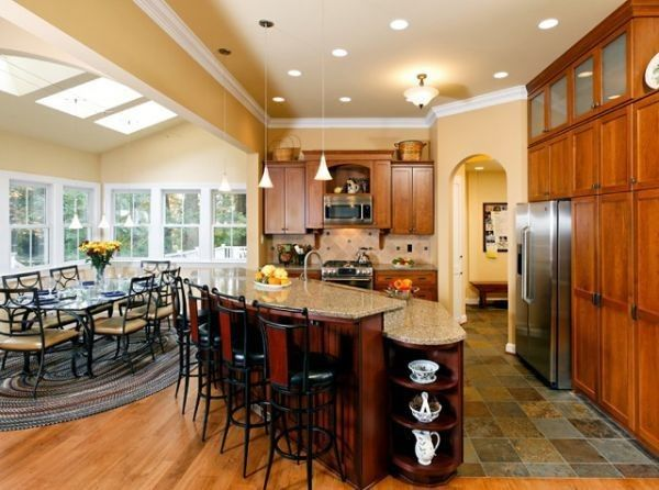 A remodeled kitchen-dining room combo