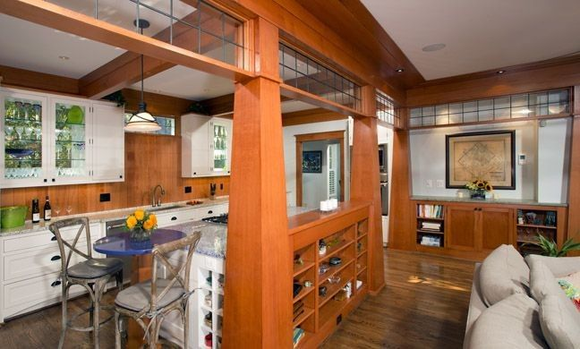 A remodeled kitchen living room combo