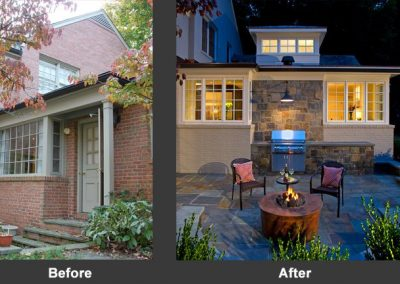 A before and after of a patio