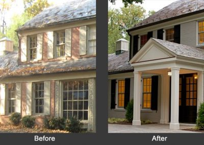 Before and after of a remodeled exterior entrance