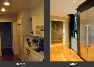 A before and after of a remodeled kitchen