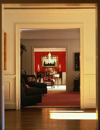 A view through the doorways of a home